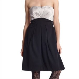 WHBM Strapless Sweetheart Bustier Pleated Dress
